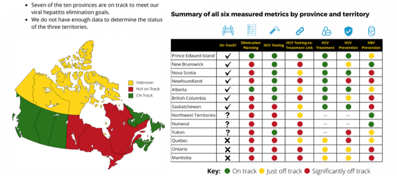 Current Status table. Seven out of the ten provinces are on track to meet Canada's viral hepatitis elimination goals. We did not have enough data to determine the status of the three territories.